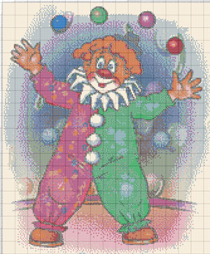 Вышивка крестом схемы с клоунами